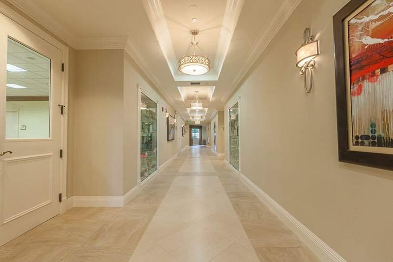 Tile Floor Installation in the Hallway of Valencia Shores Clubhouse | South Florida